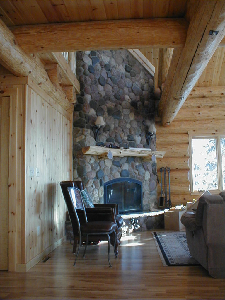 Great room stone fireplace