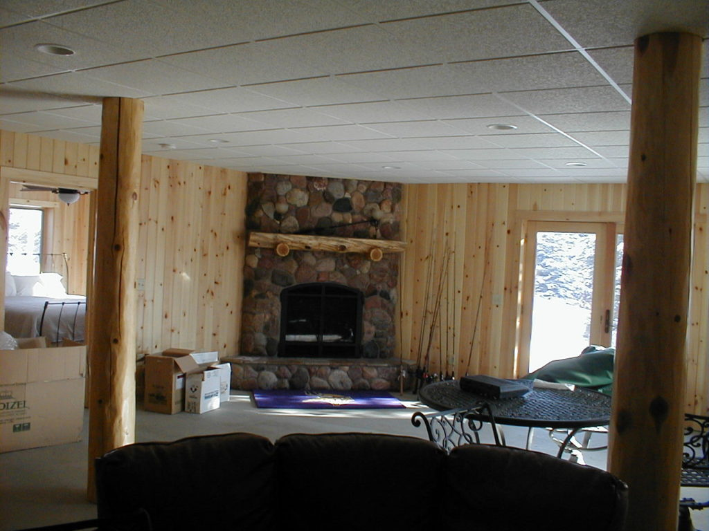 Basement fireplace room