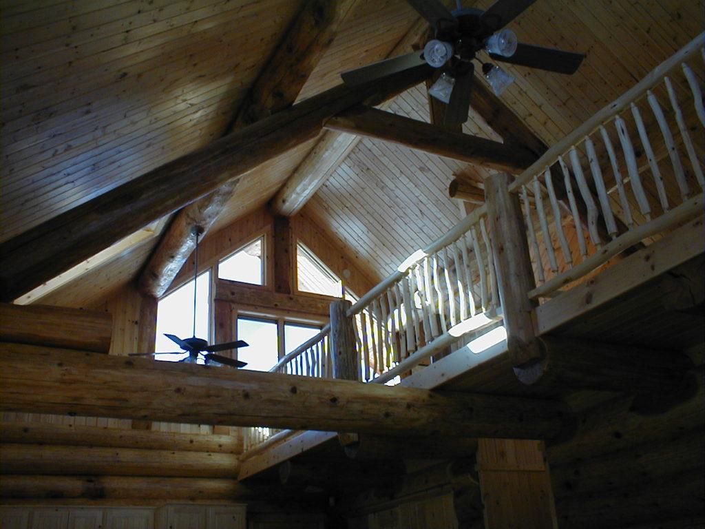 Aspen Log loft railing, cedar beams