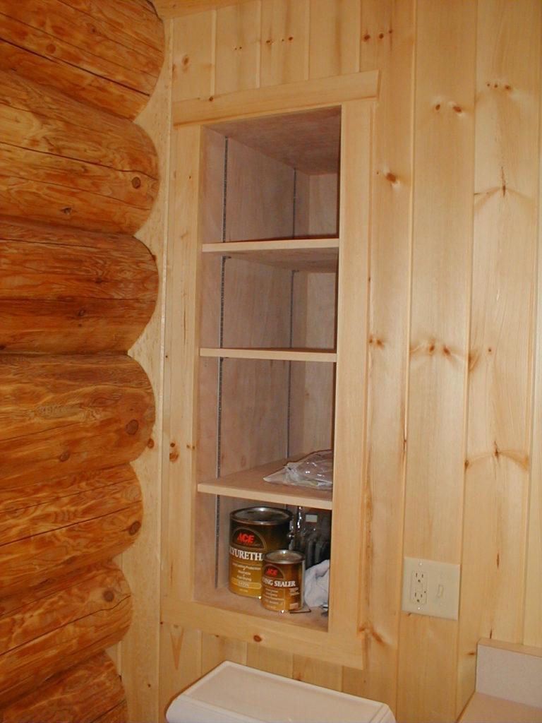 Built in shelves, cedar log home