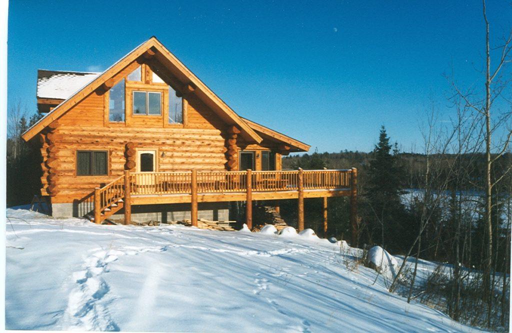 Cedar log cabin, winter, snow