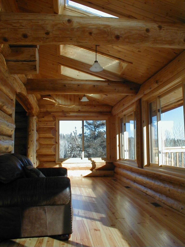 Windows to the lake, skylights, cedar log walls