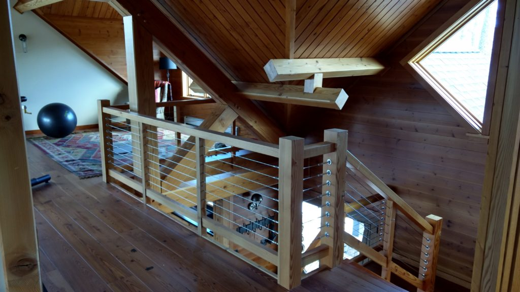 Cable railing at stairs in loft