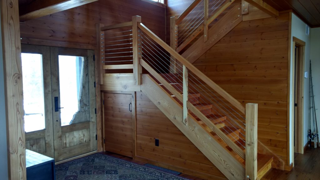 Timber stairs cable railing