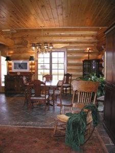 cedar log home great room, dining room