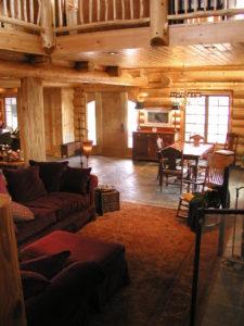 Beautiful great room/ dining room area in cedar log home