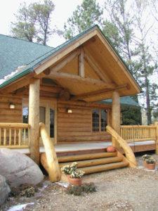 Cedar log home entry