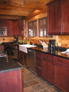 Kitchen area in cedar log home