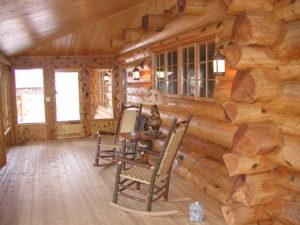 Cedar log home screen porch