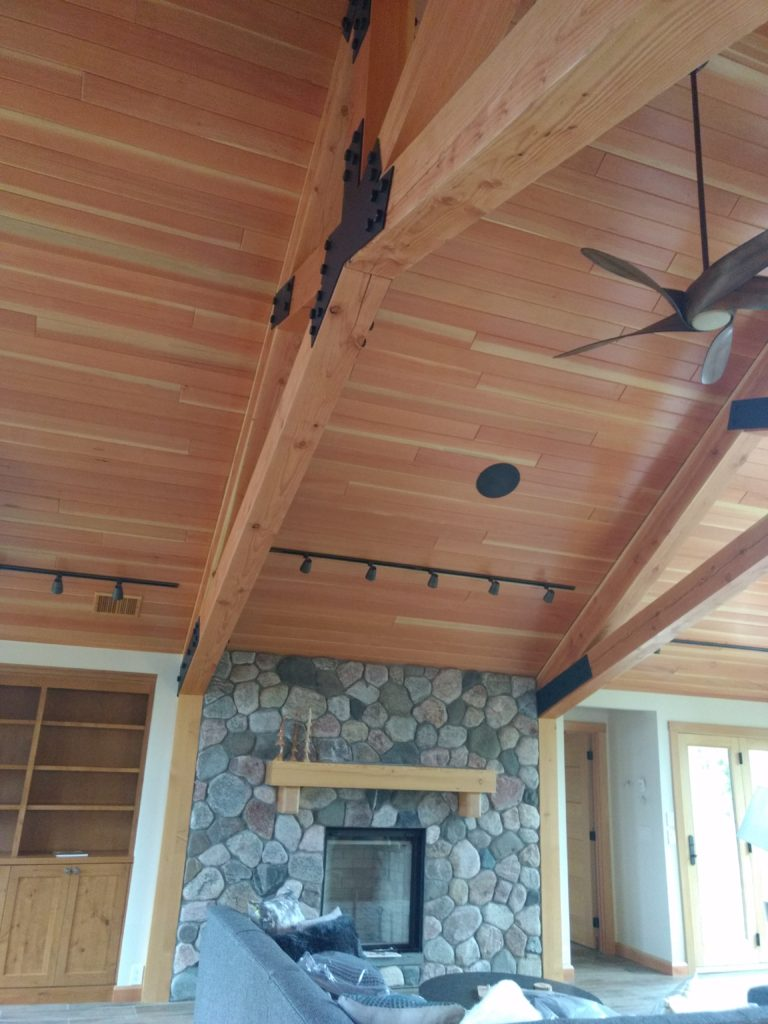 Doug fir beams and ceiling in greatroom