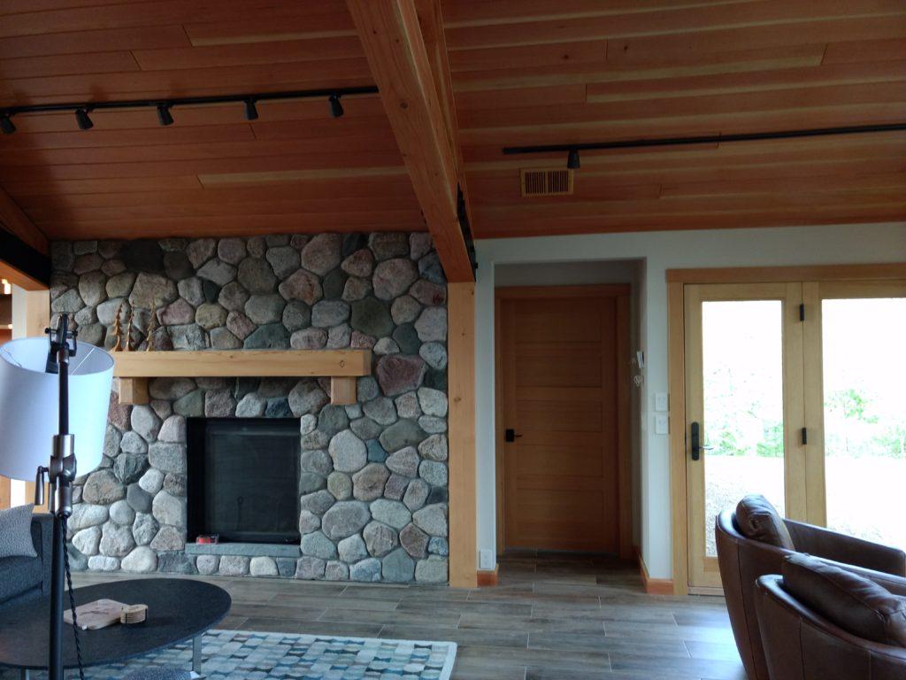 Douglas fir ceilings, stone fireplace