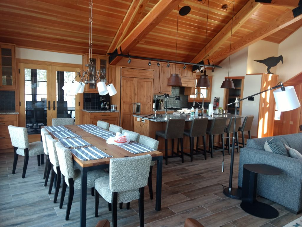 Great room kitchen dining doug fir and tile
