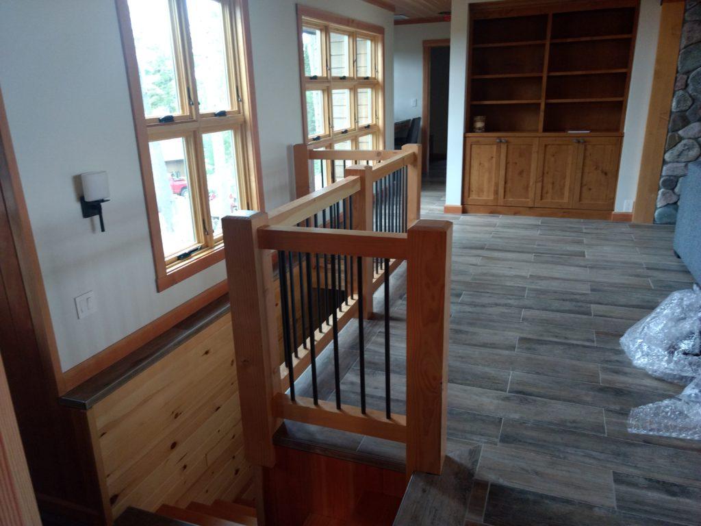 Stair railing, doug fir