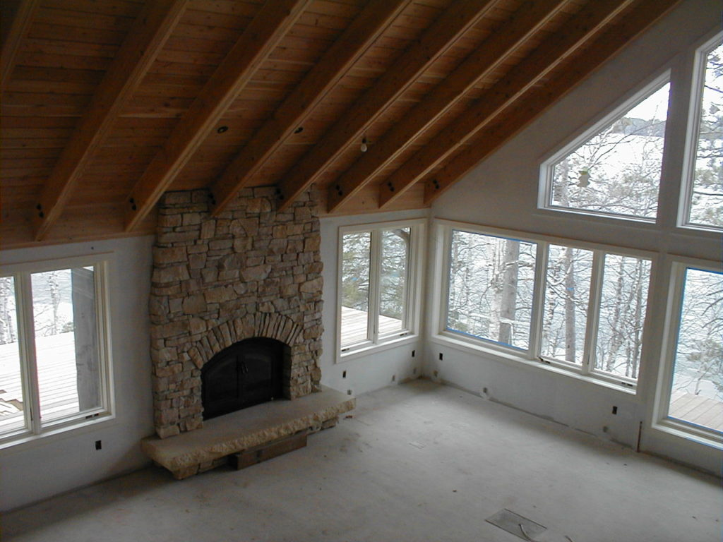 Interior fireplace, unfinished walls