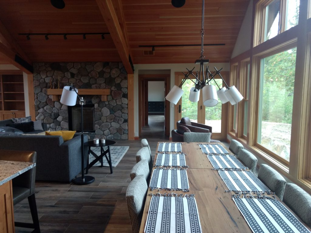 Table and stone fireplace