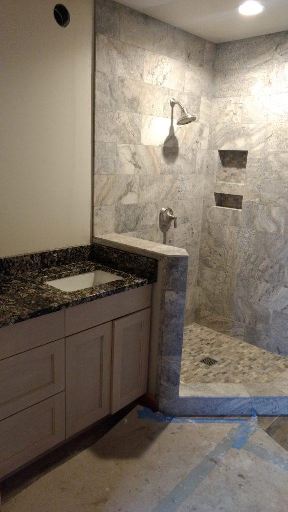Tile and granite bathroom