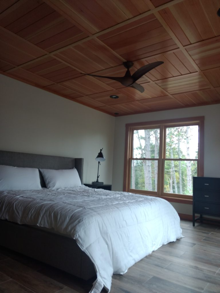 douglas fir ceiling bedroom
