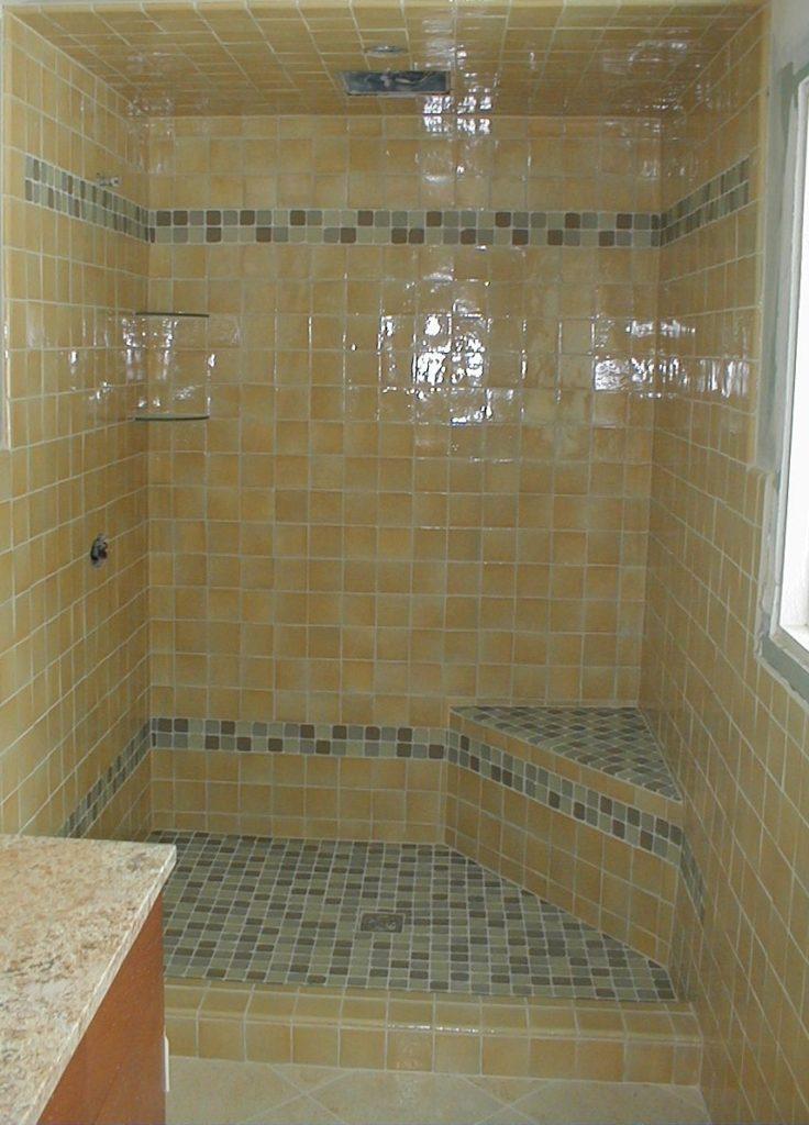 tiled shower, granite countertop