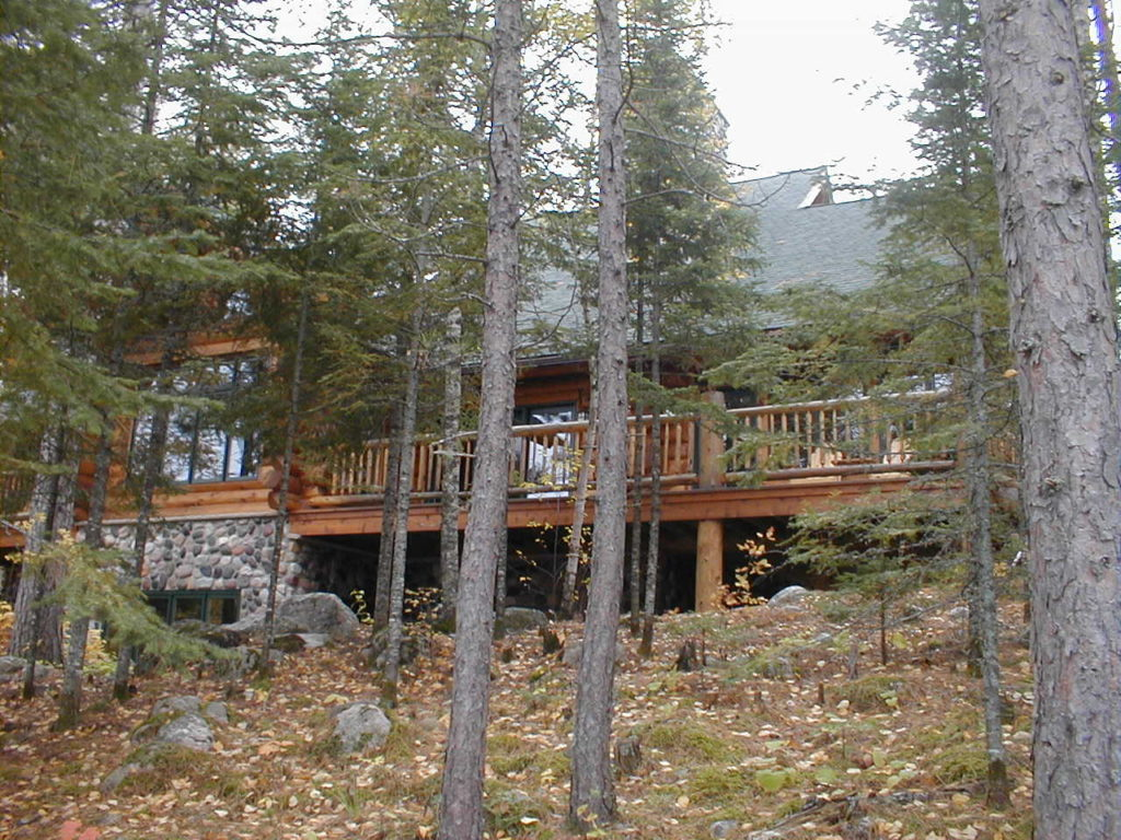 View from the lakeside, custom log home