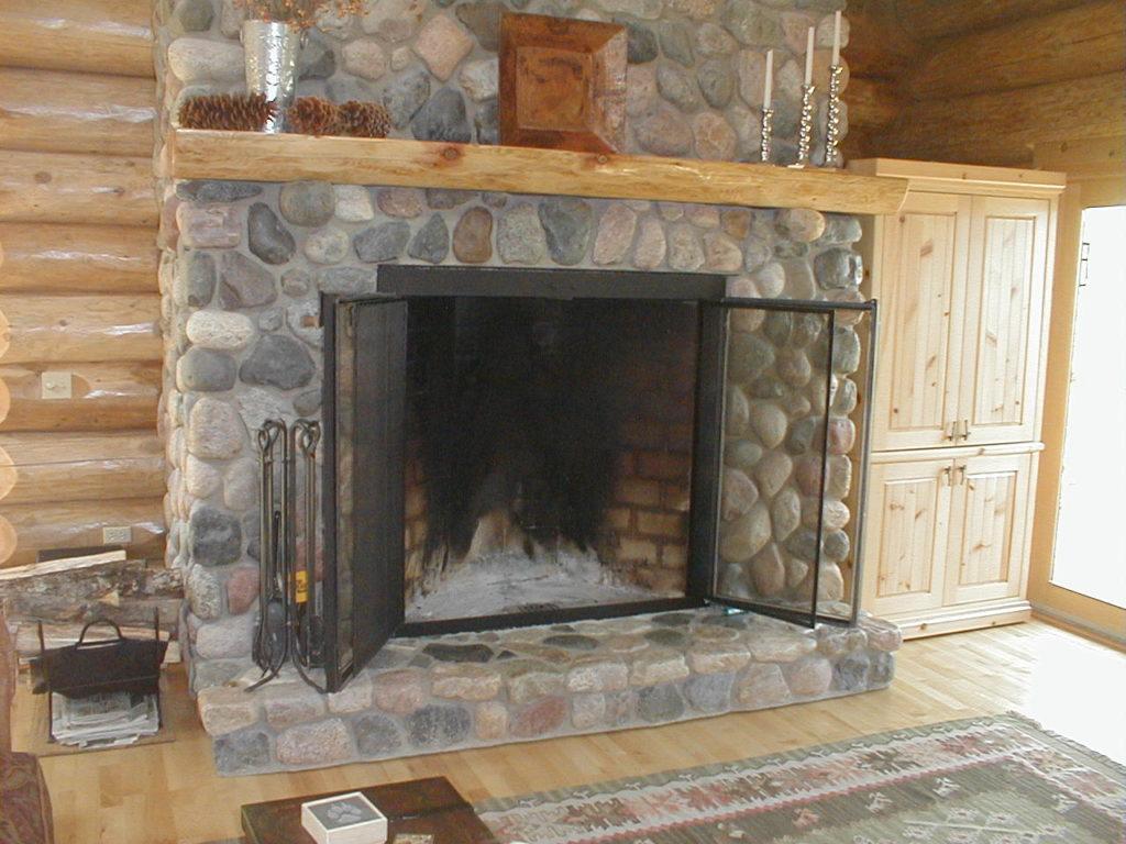 Main stone fireplace