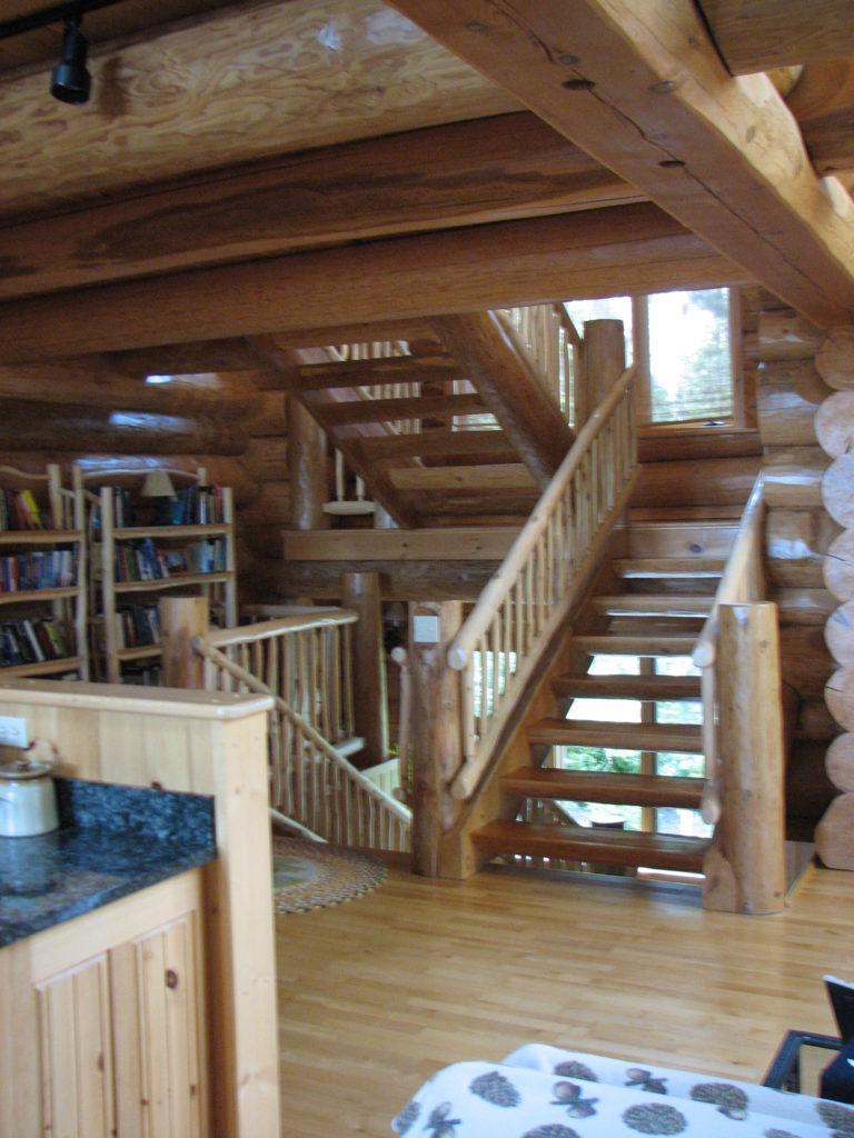Stairway, log home