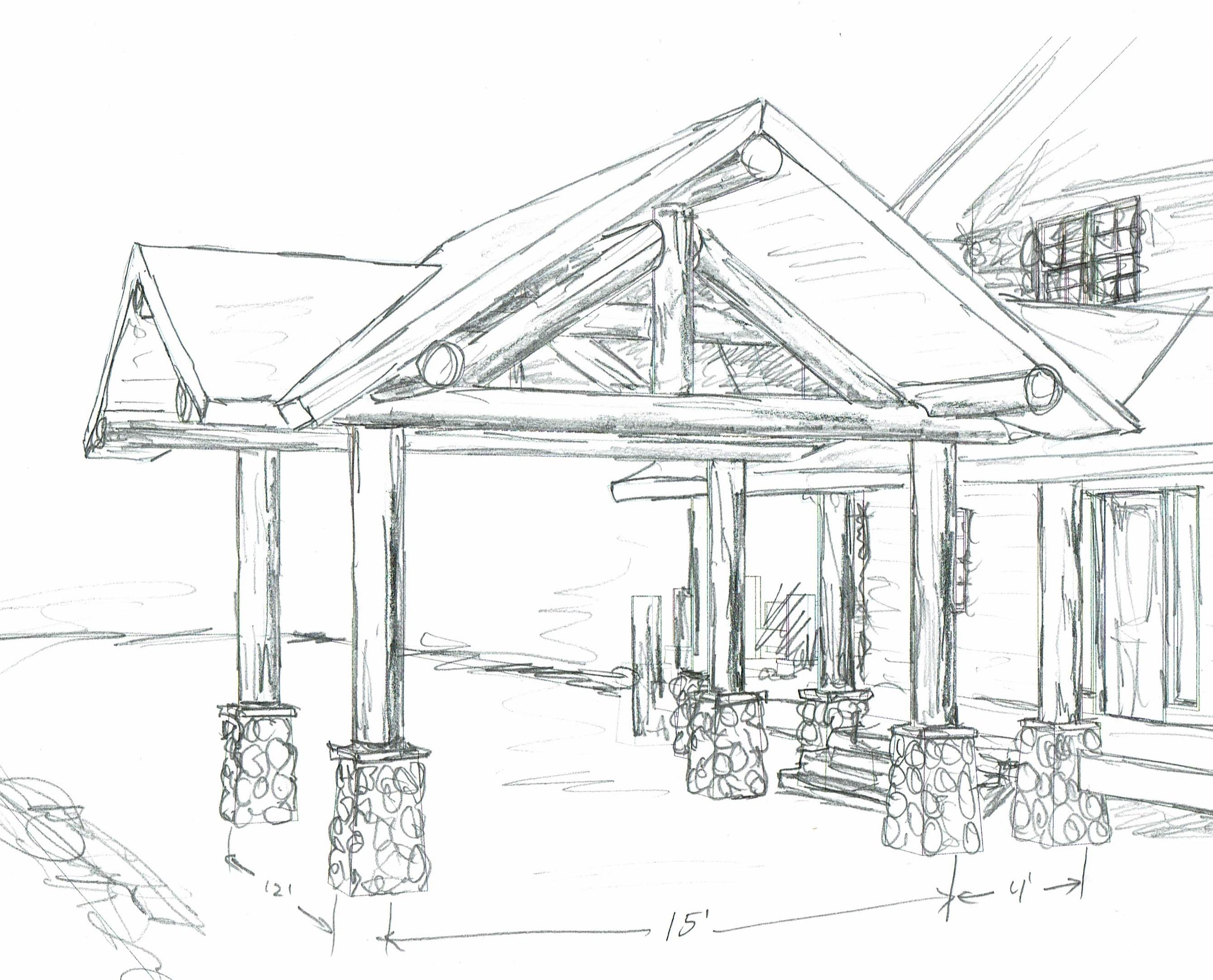 Sketch of drive-through portico log construction