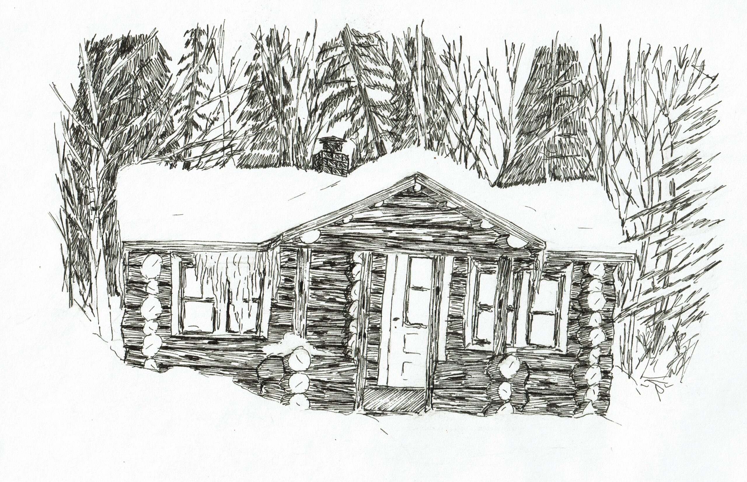Buyck log cabin, ink drawing
