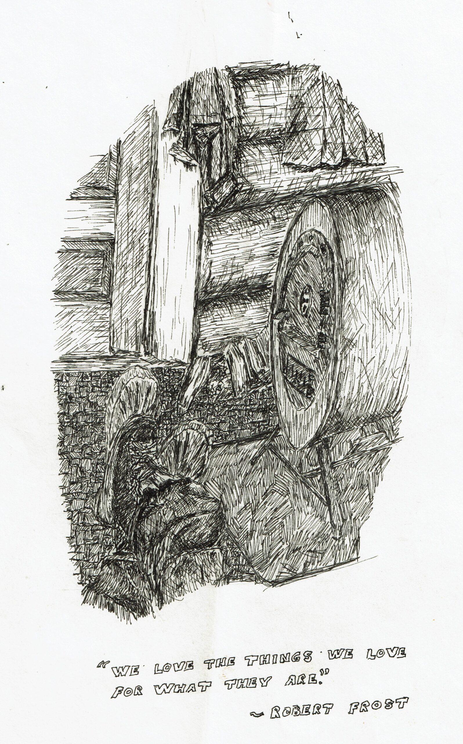 Buyck log cabin, ink drawing, barrelstove
