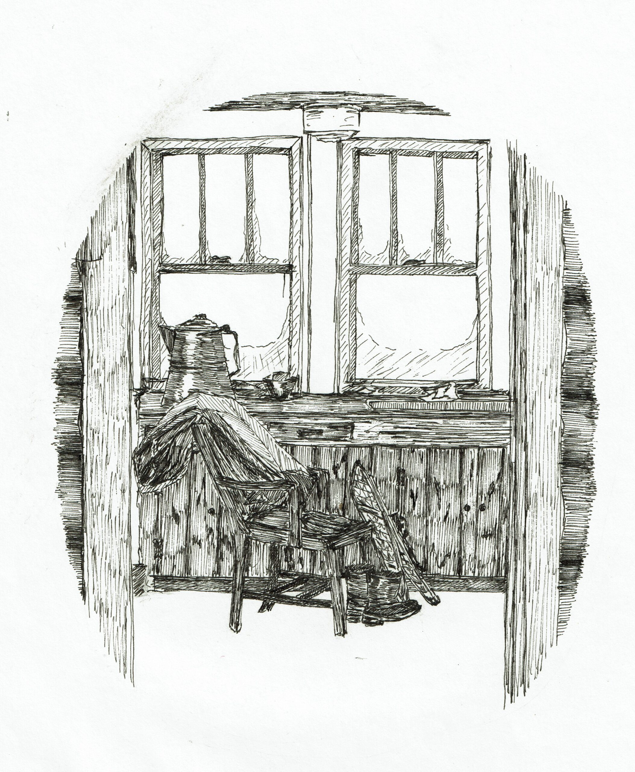 Buyck log cabin, ink drawing, snow shoes and chair