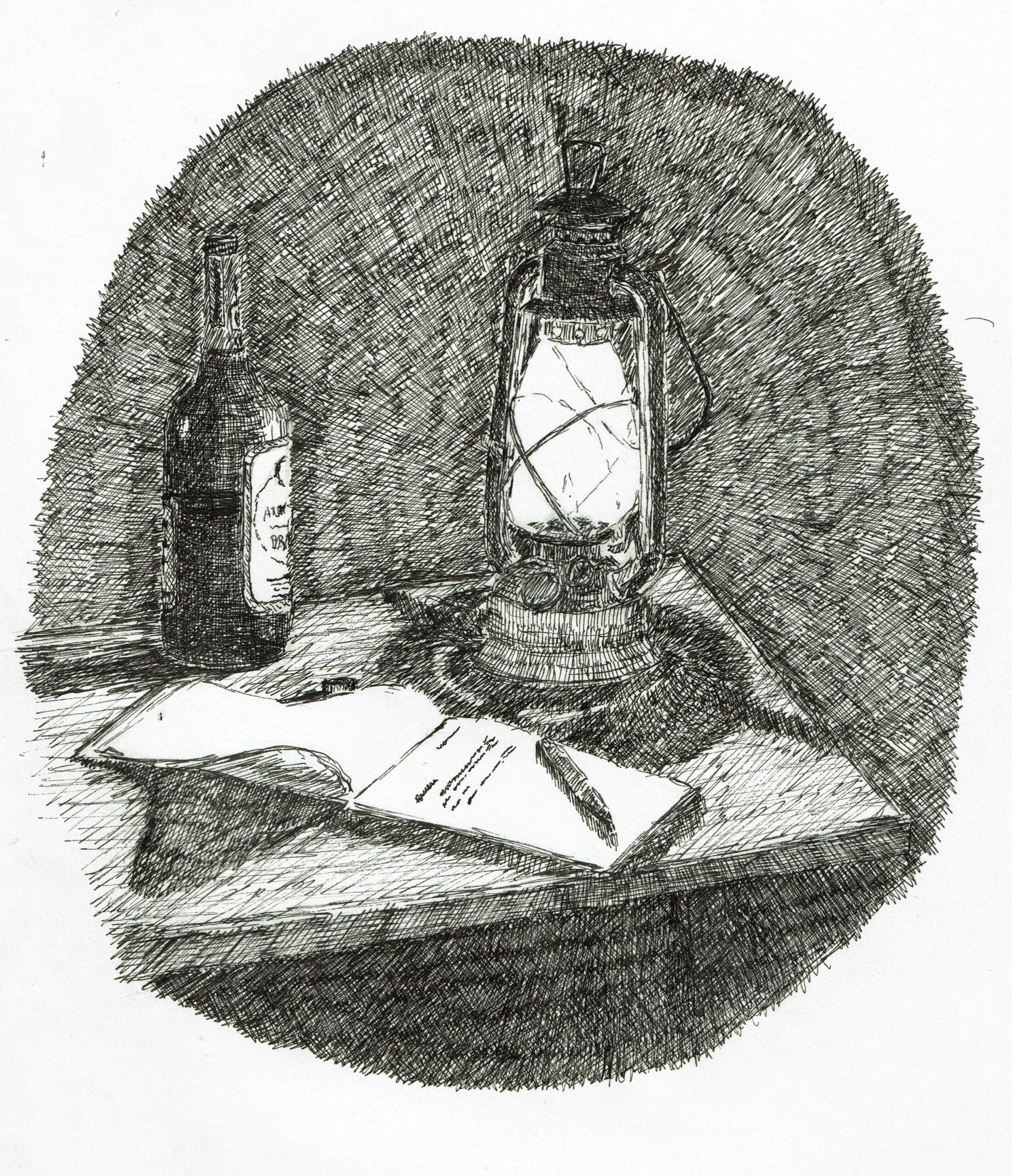 Buyck log cabin, ink drawing, tablet and lanturn