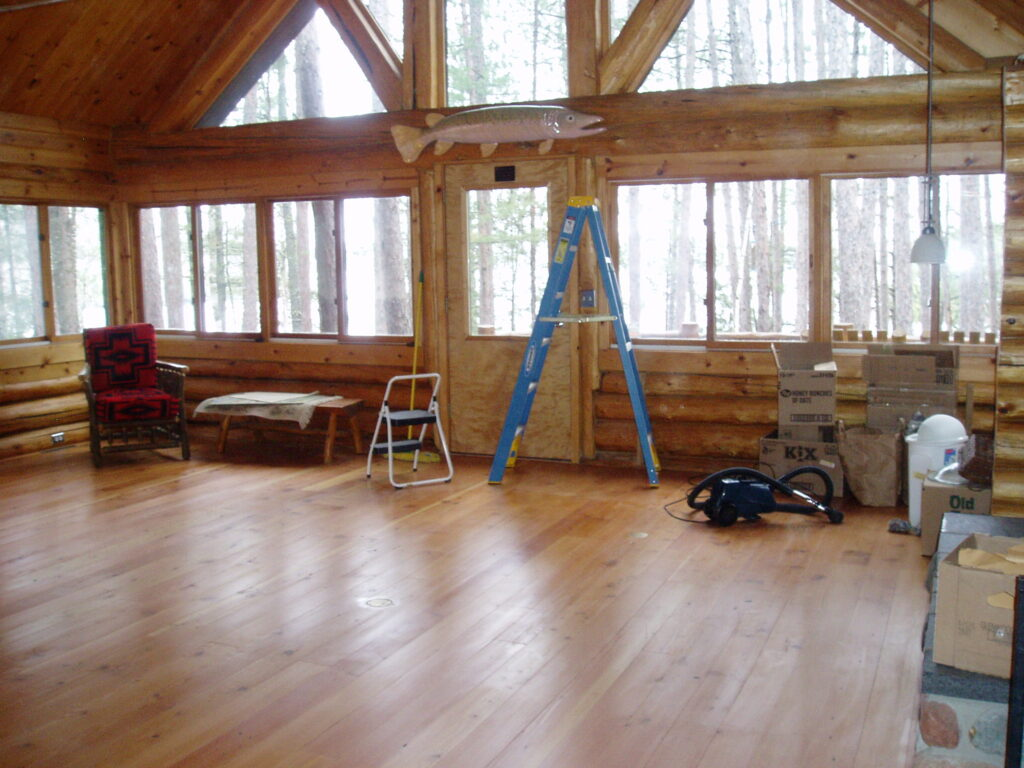 New Douglas Fir Floors in great room after remodel