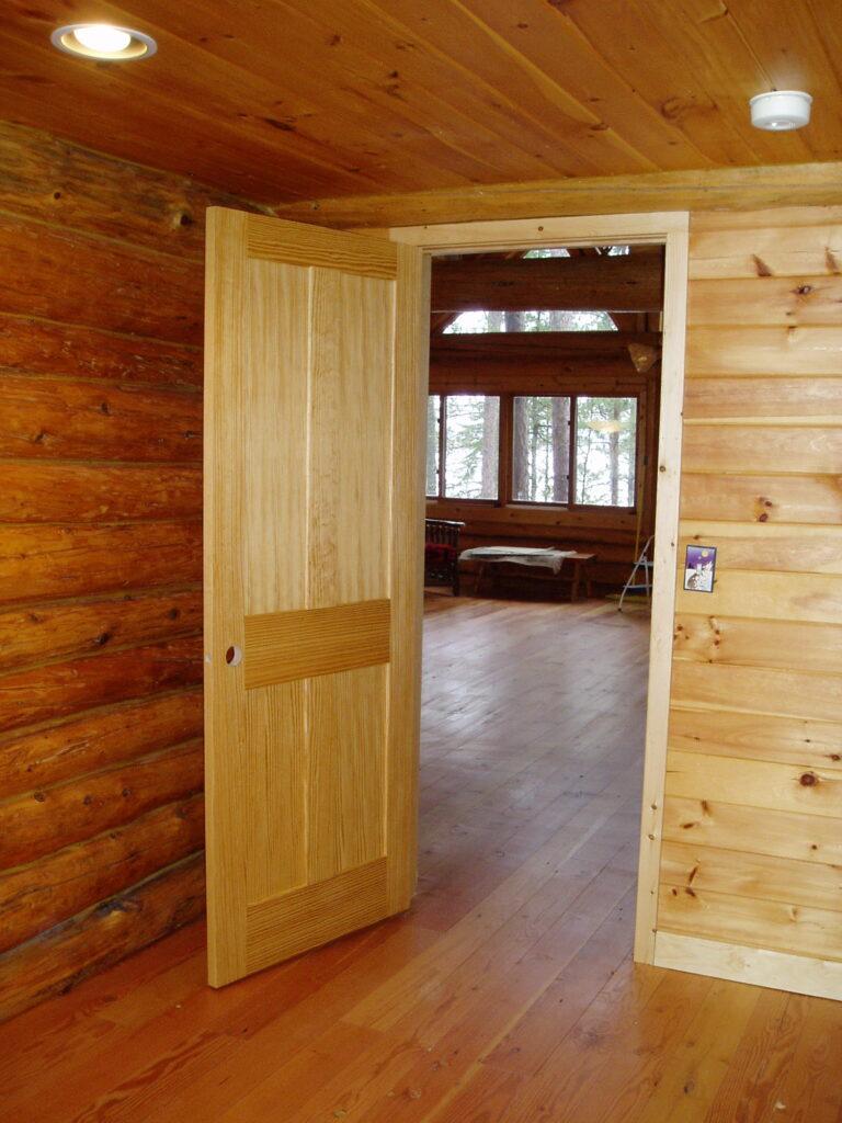 New doug fir door and flooring after remodel