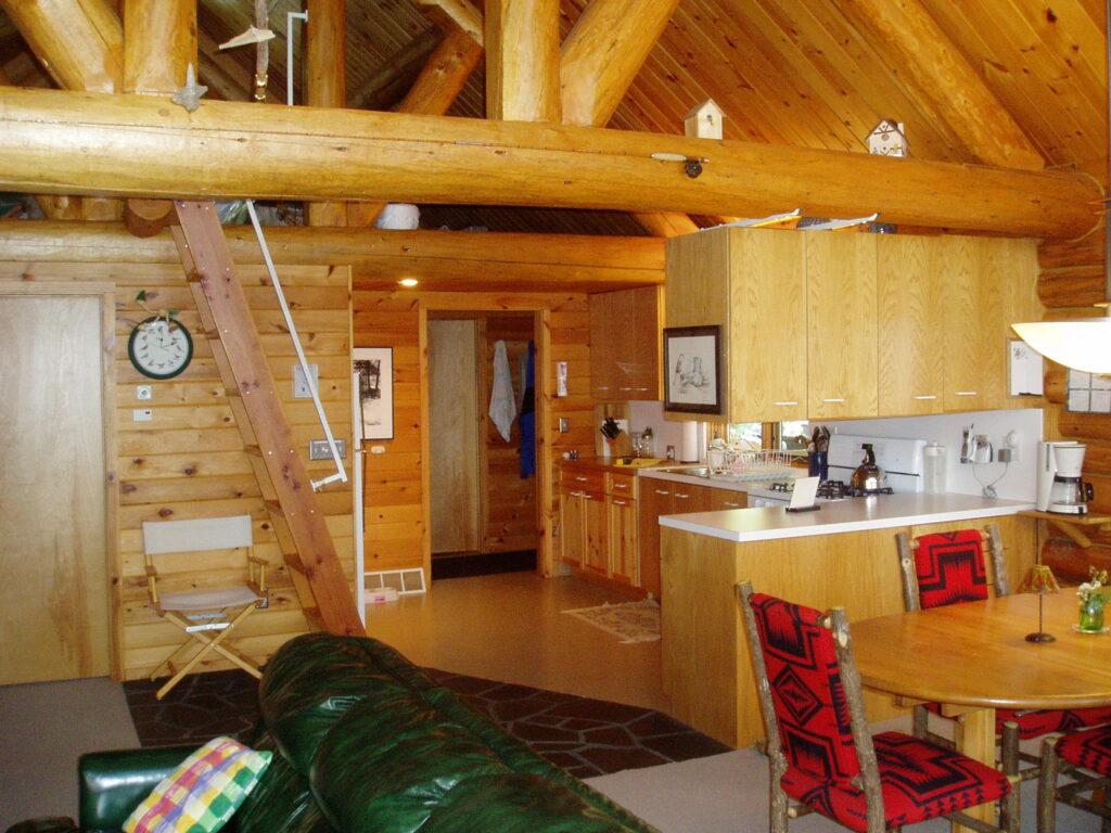 old kitchen in log cabine before remodel