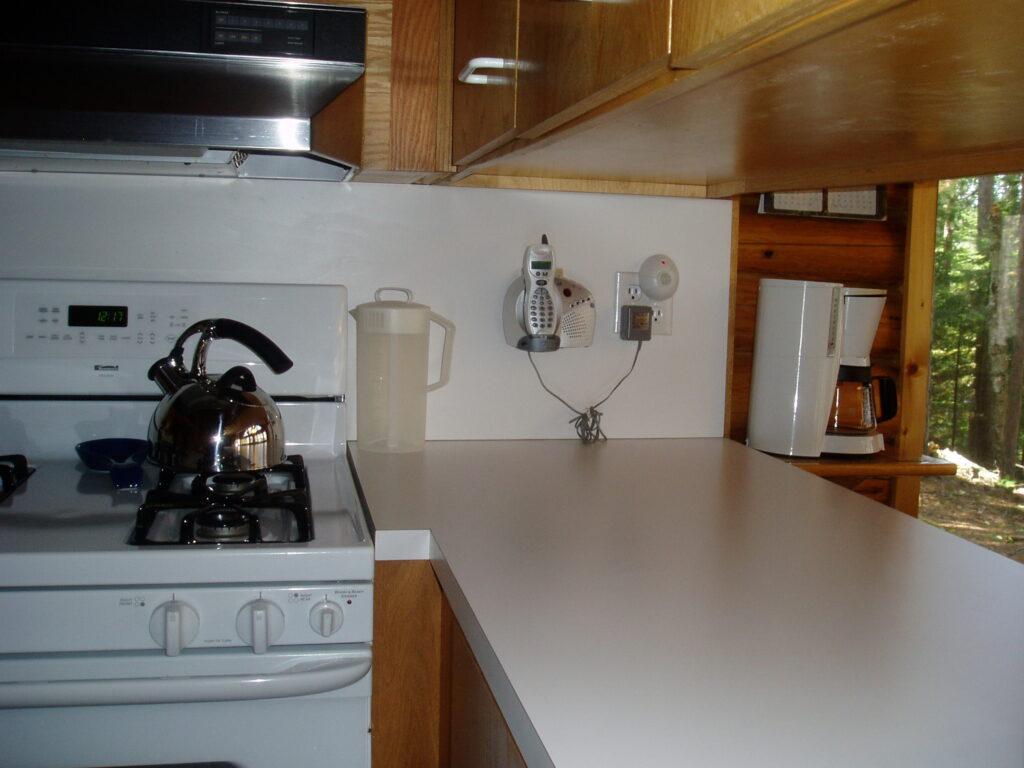 old kitchen in log cabin before remodel