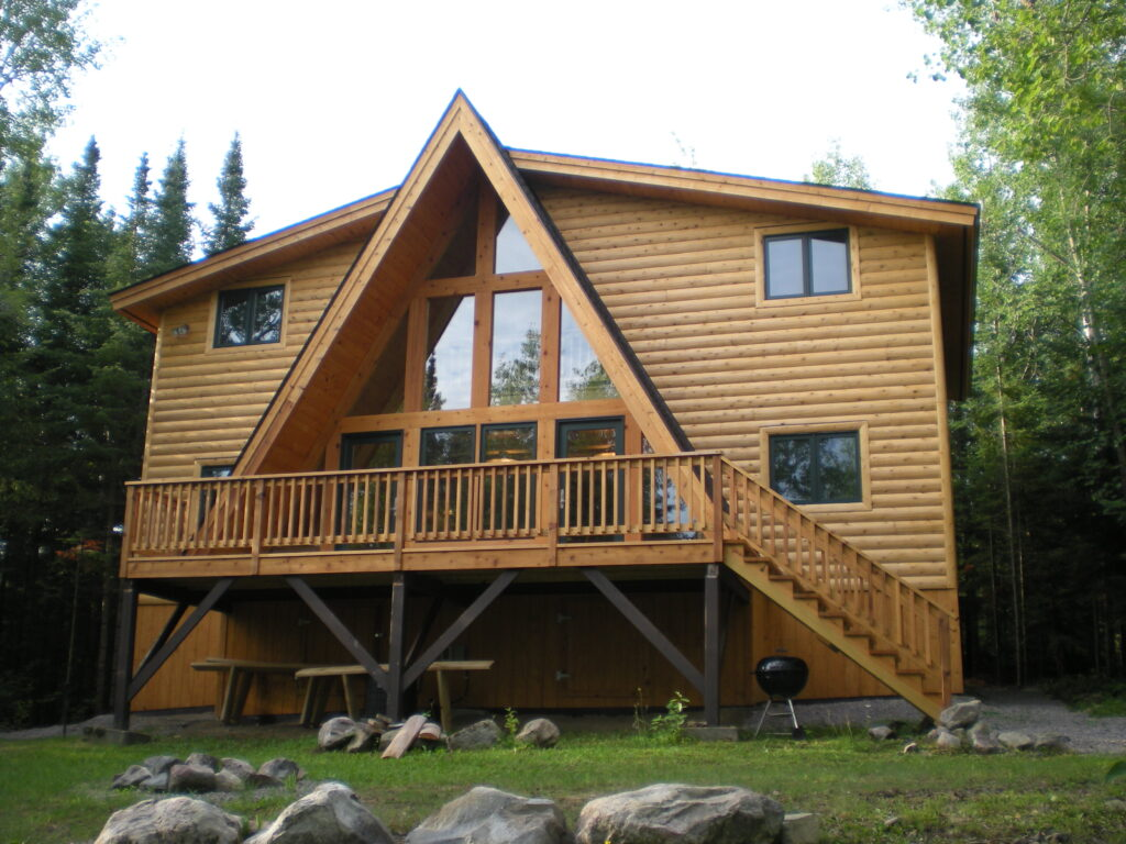 lake side, after renovation, half log siding