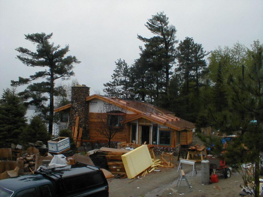 Copper roof and cedar siding in progress
