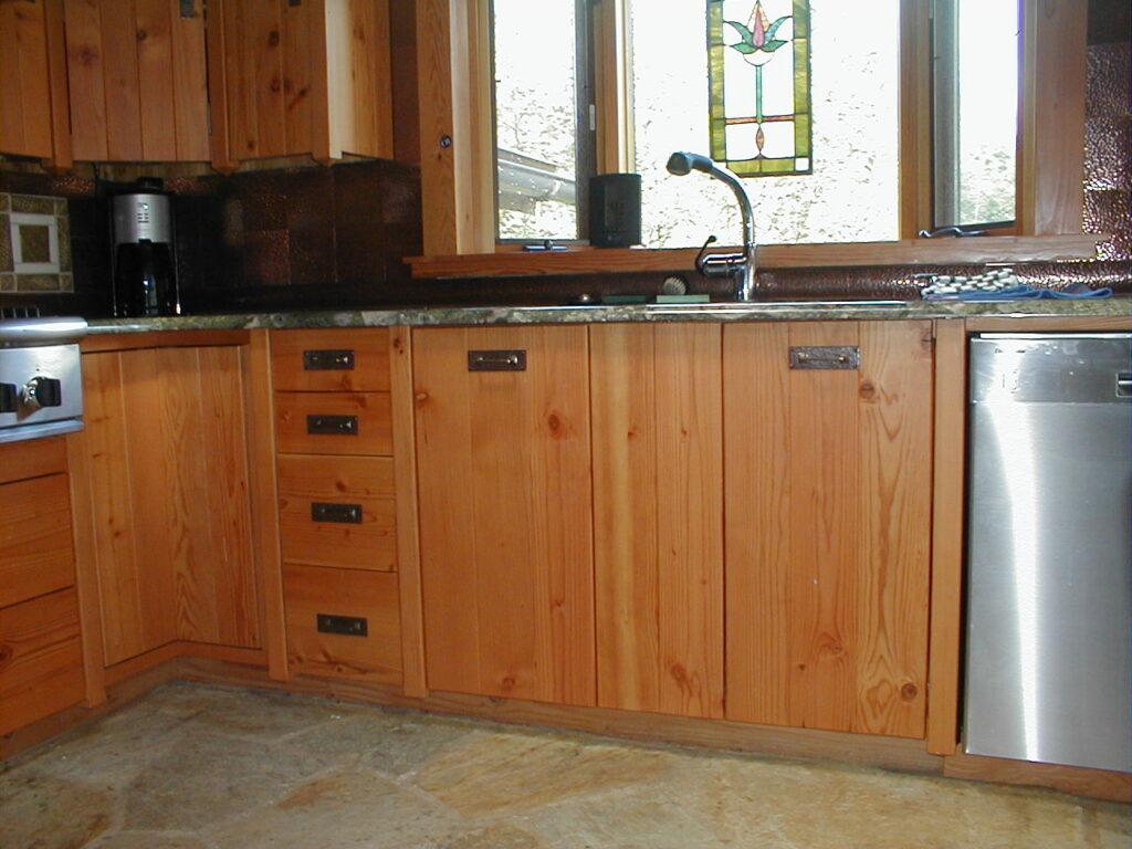 Custom built Doug fir kitchen cabinets