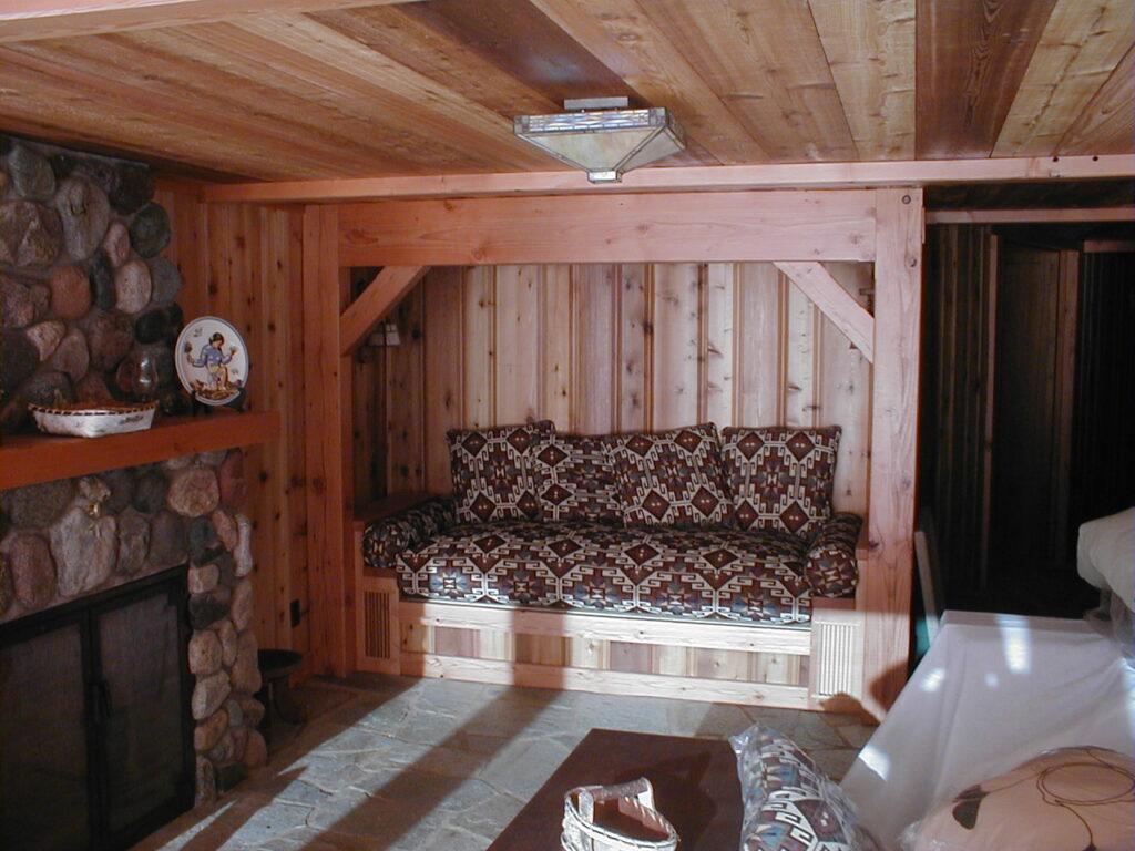 Doug fir beams, cedar paneling and stone fireplace
