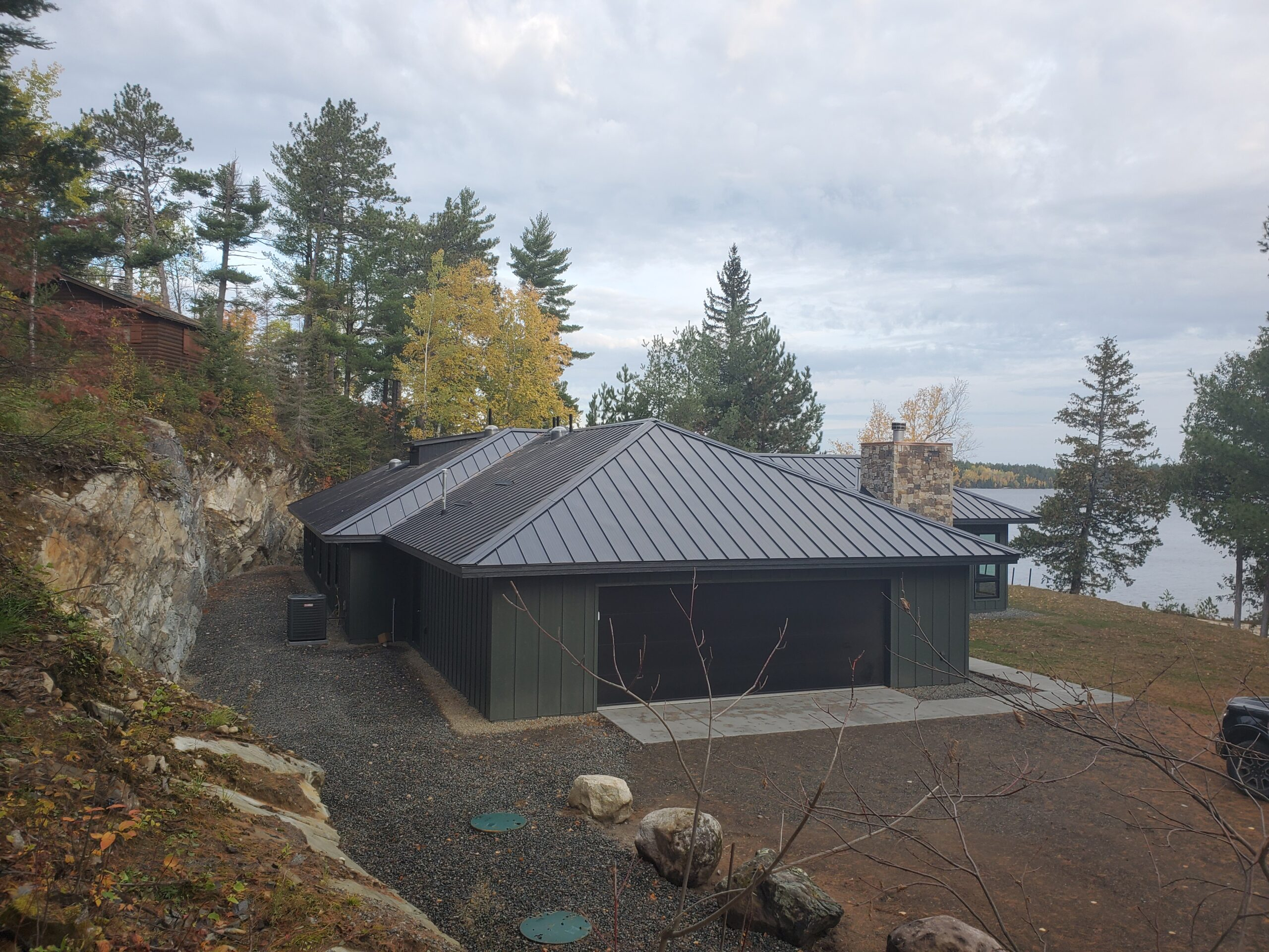 Garage and standing seam roof, lake cabin Ely MN