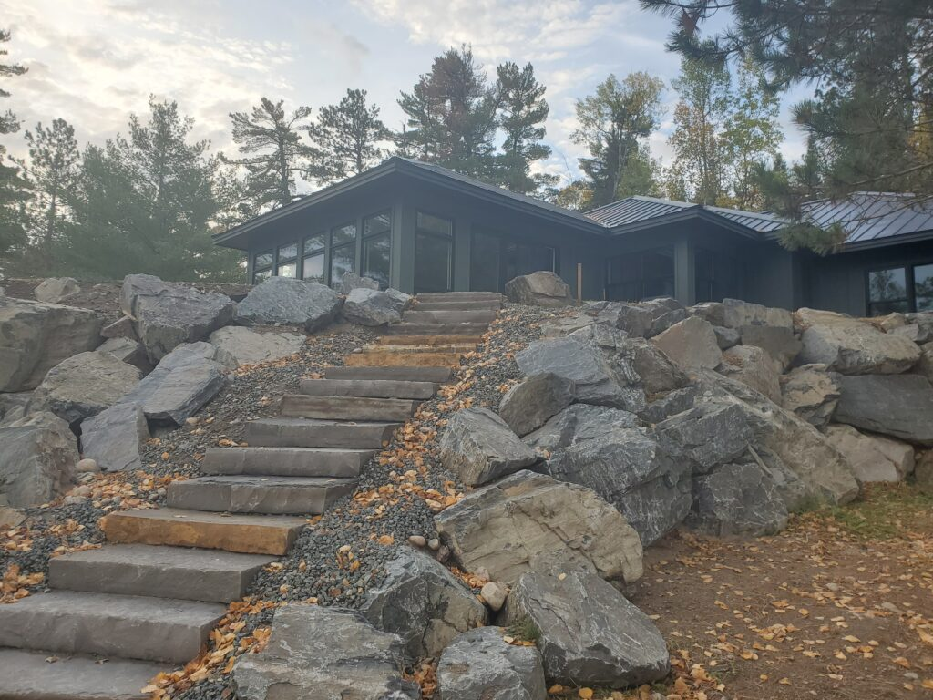 Stone steps up to ely lake home