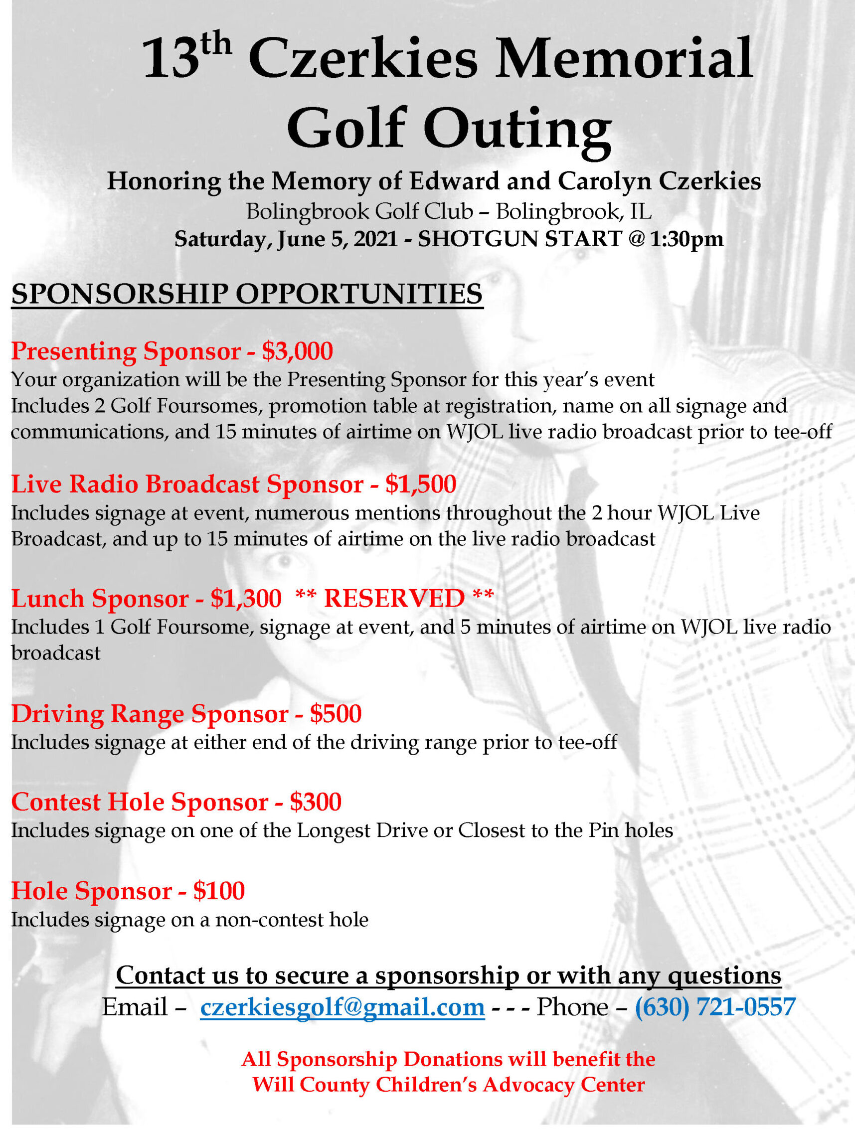 Sponsorship Opportunities - 2021 Czerkies Memorial Golf Outing