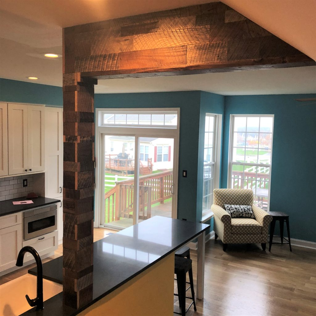 Reclaimed Barn Wood Accent Column and Ceiling Soffit