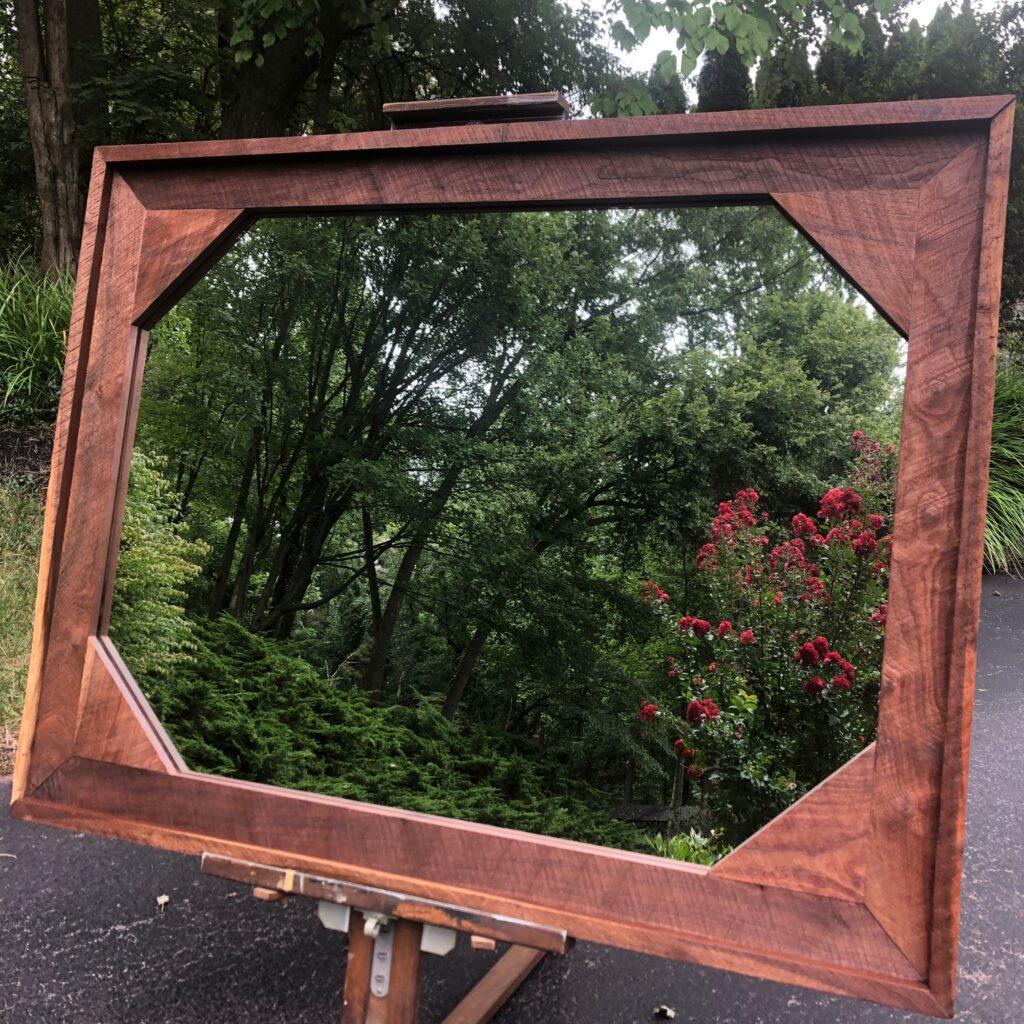 Solid black walnut framed mirror