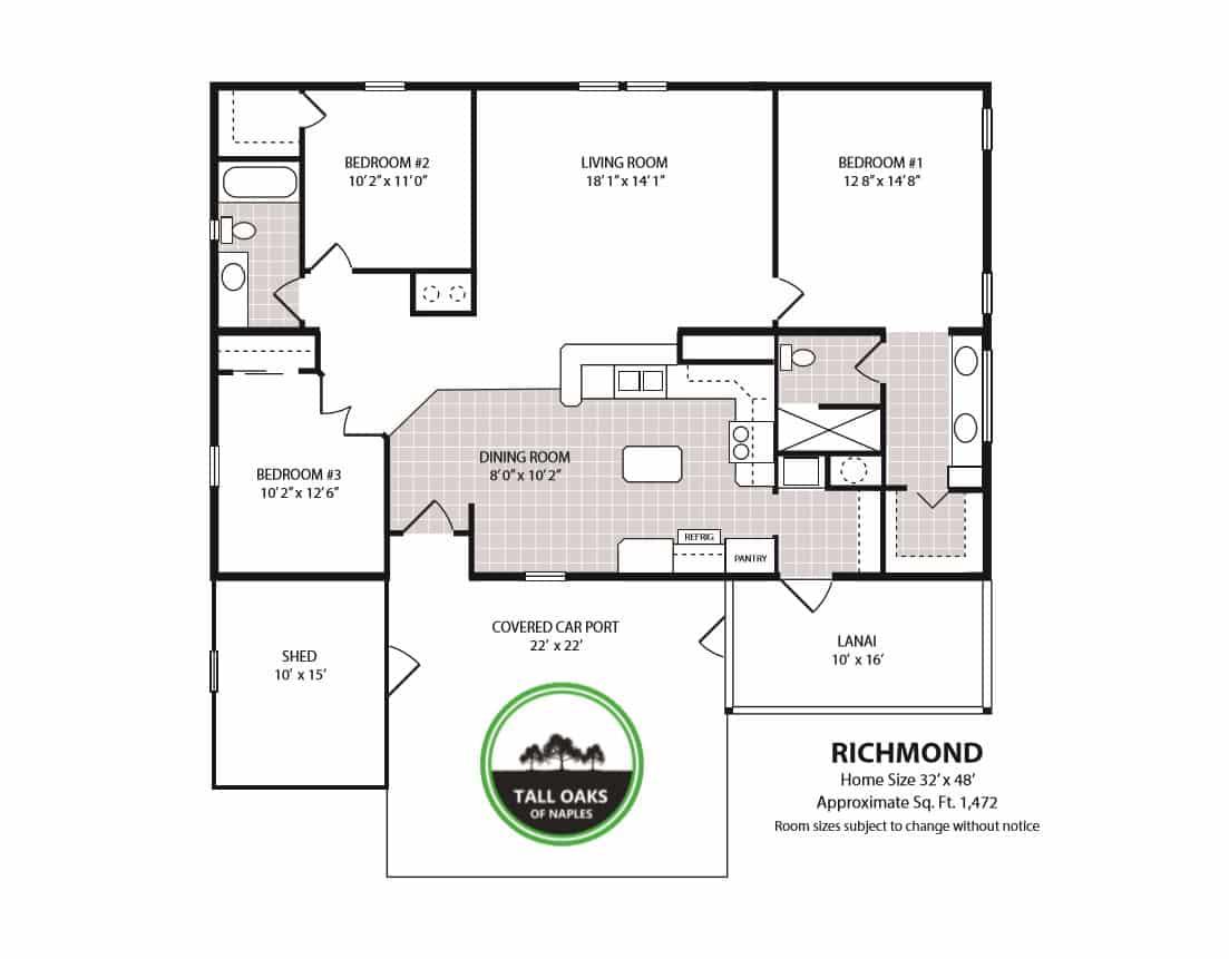 Naples, Florida 34113, 3 Bedrooms Bedrooms, ,2 BathroomsBathrooms,Manufactured Home,Floor Plan,1015