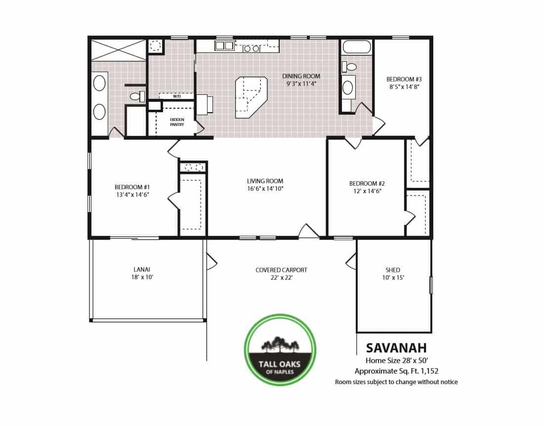 Naples, Florida 34113, 3 Bedrooms Bedrooms, ,2 BathroomsBathrooms,Manufactured Home,Floor Plan,1016