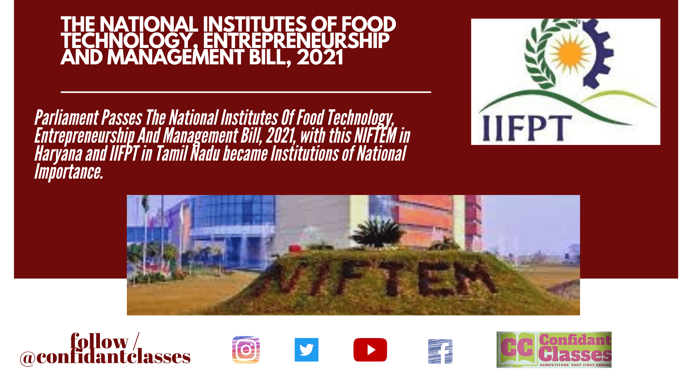 The National Institutes Of Food Technology, Entrepreneurship And Management Bill, 2021