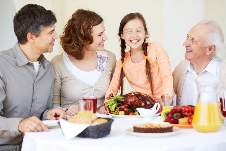 family eating thanksgiving dinner together