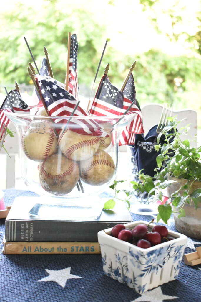 red white and blue tablescape on a budget