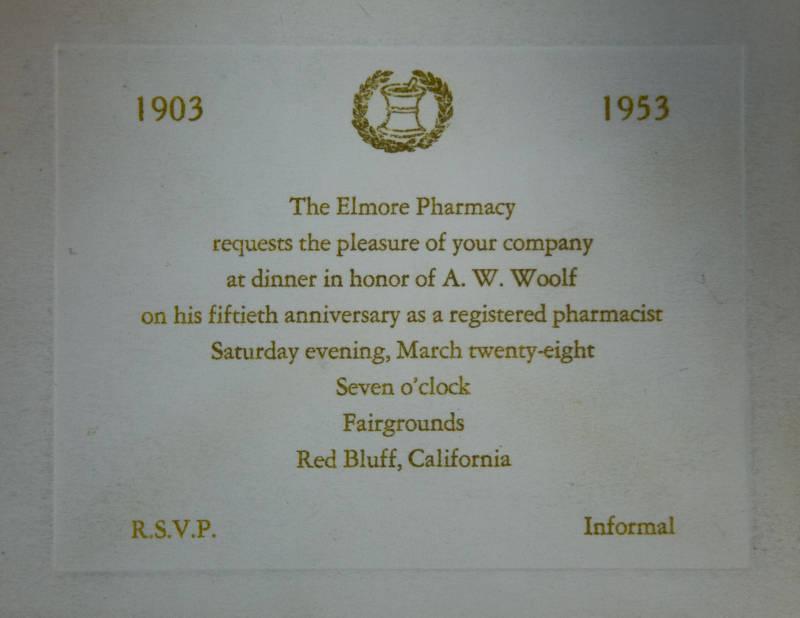 Elmore Pharmacy A. W. Woolf 50th Anniversary as a Pharmacist