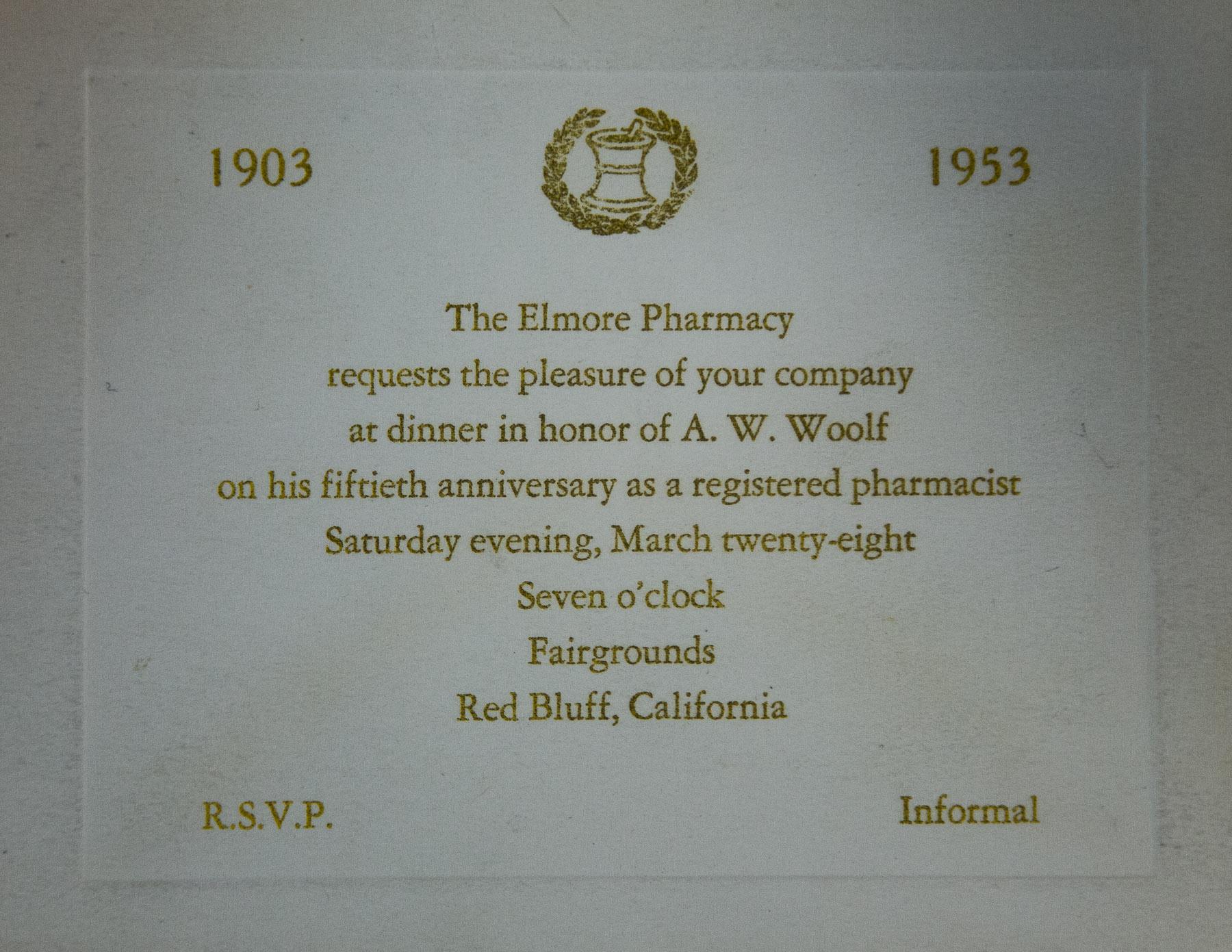 1953 Elmore Pharmacy A. W. Woolf 50th Anniversary as a Pharmacist